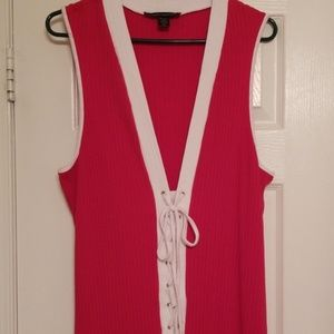 Ribbed red & white dress